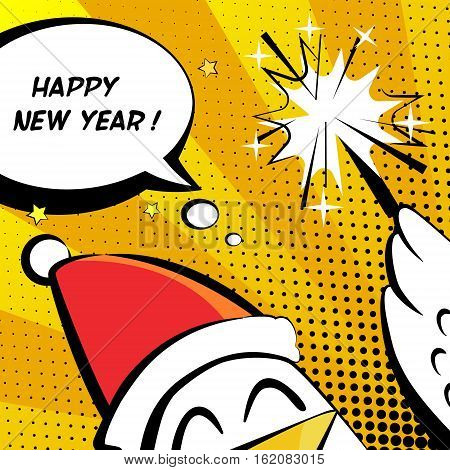 Happy New Year vector illustration with rooster sparkler and text cloud. Comics style