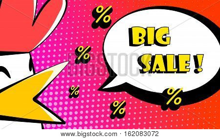 Happy Rooster Year card with bird percent and text Big Sale. Comics style. Vector