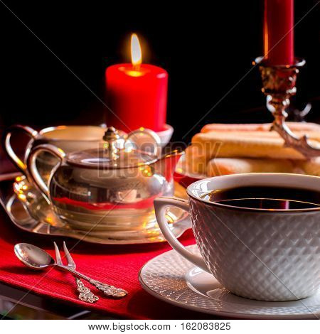 Afternoon Tea. Beautiful Table Setting With Candles.
