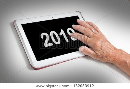 Senior Lady Relaxing And Her Tablet - 2019