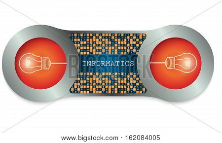Two metal frames and the words informatics and binary code