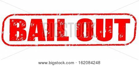 Bail out on the white background, red illustration