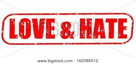 Love & hate on the white background, red illustration