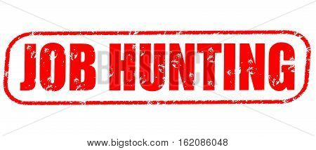 Job hunting on the white background, red illustration