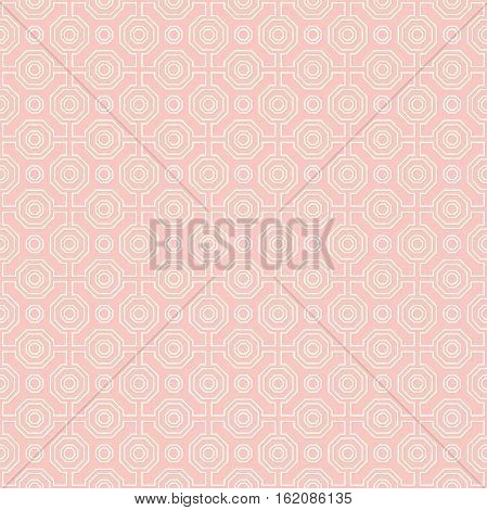 Geometric pink and white abstract vector octagonal background. Geometric abstract ornament. Seamless modern pattern