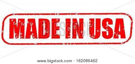 Made in USA on the white background, red illustration