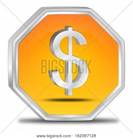 orange Button with Dollar sign - 3D illustration