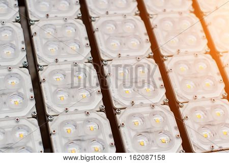 close-up Electronic lighting LED panel selective focus