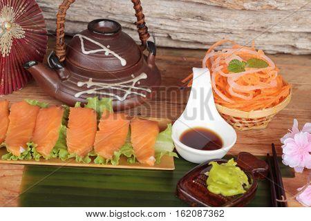 Salmon raw sashimi with wasabi Japanese food style
