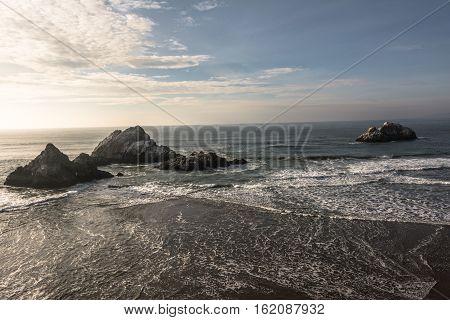Rocks in the sea at Ocean Beach in San Francisco, California