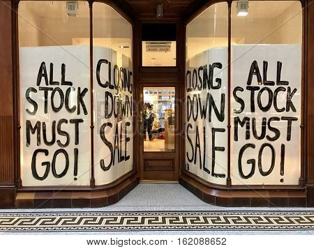NEWCASTLE - NOVEMBER 9: All stock must go at a closing down sale of an independent retailer shop on November 9, 2016 in Newcastle, UK.