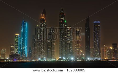 Dubai marina skyline in the United Arab Emirates