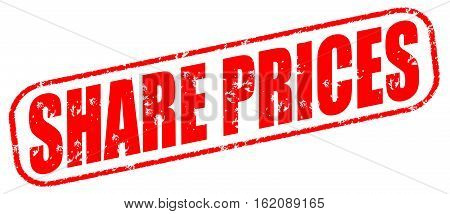 Share prices on the white background, red illustration