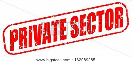 Private sector on the white background, red illustration