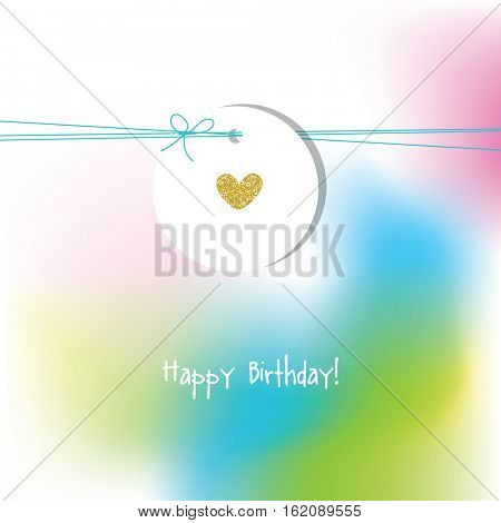 Birthday card with golden heart