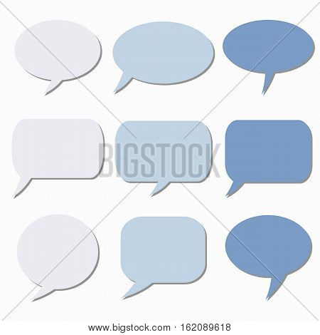 Thought frame. Speech bubble. Dream cloud. Talk balloon. Quote box. Set of vector illustration icons.