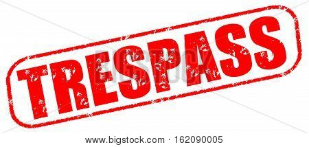 Trespass on the white background, red illustration