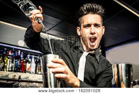 Flair bartender in action in the club
