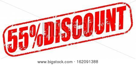 55% discount on the white background, red illustration