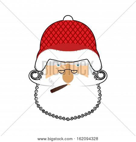 Santa Soldier Face. Army Claus Head. Christmas War. Defender Of New Year. Grandfather With Beard And
