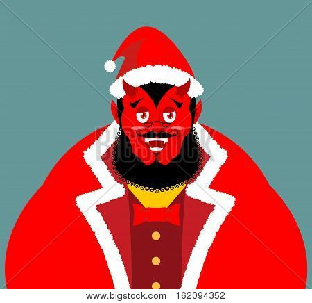Krampus Satan Santa. Claus Red Demon With Horns. Christmas Monster For Bad Children And Bullies. Fol