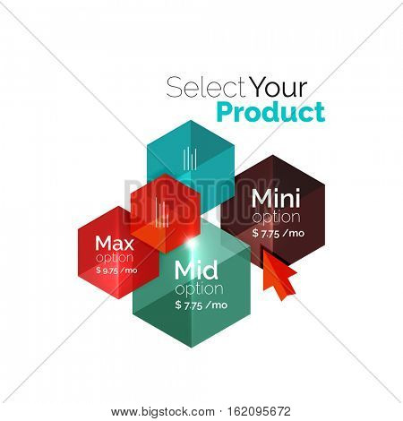 Select product template. Vector background for business brochure or flyer, presentation and web design navigation layout