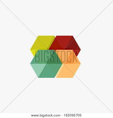 Blank geometric abstract business templates, hexagon layouts. Elements of business brochure, flyer or web design navigation layout