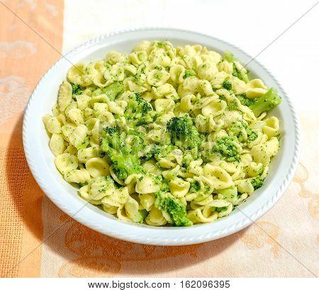 Orecchiette Cime di Rapa traditional pasta broccoli recipe from Apulia region Italy