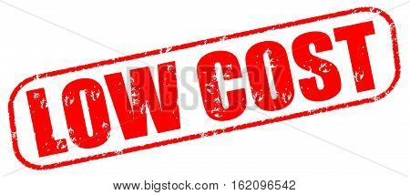 Low cost on the white background, red illustration