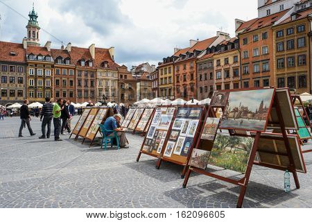 Warsaw, Poland - 20 June 2015: view on an old Market square of Warsaw in Poland