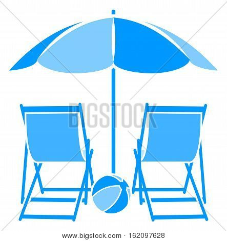 vector deck chairs under beach umbrella isolated on white background