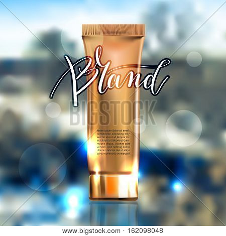 toner contained in plastic tube with gold lid and place for your brand name text for ads or magazine banner of cosmetics, cream, ointment, lotion, 3D vector illustration