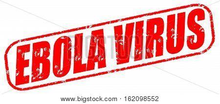 Ebola virus on the white background, red illustration