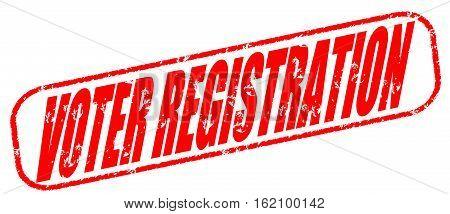 Voter registration on the white background, red illustration