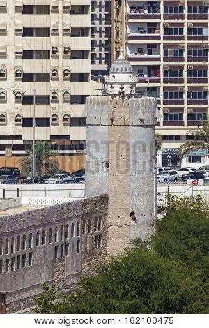 ABU DHABI UAE - NOV 24 2016: Ancient Qasr Al Hosn tower in the city of Abu Dhabi United Arab Emirates