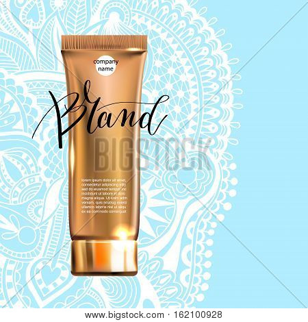 toner contained in plastic tube with gold lid and place for your brand name text for ads or magazine banner of cosmetics, cream, ointment, lotion, 3D vector illustration eps 10