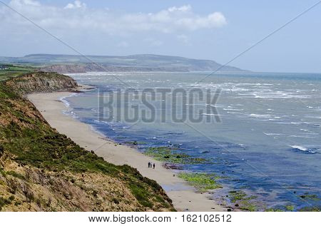 isle of wight, west wight coast,  beach, surf ,distant downs