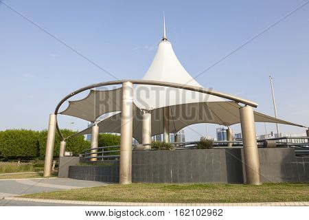 Pavilion at the corniche in the city of Abu Dhabi United Arab Emirates