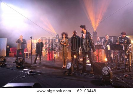 CRACOW POLAND - NOV EMBER 6 2016: Symphonica 2 Made in Poland The music of cult of underground rock metal- and punk Polish groups from years 80-these performed by musicians and soloists Filharmonia Futura on stage cinemas Kiev in Cracow.