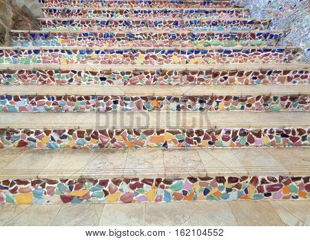 Multi Color Mosaic Decorated Stairway to the upper level of Buddhism Temple, Thailand