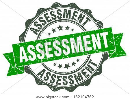 assessment. stamp. sign. seal. round. retro. ribbon