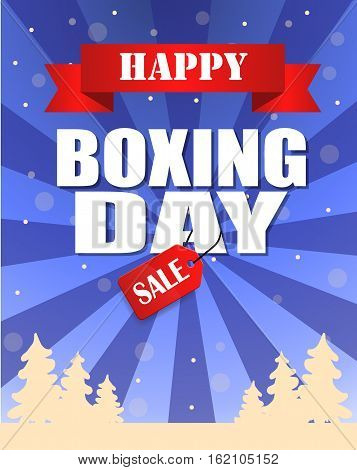 Vintage vector happy Boxing Day with red Sale tag hanging with typography design and trees