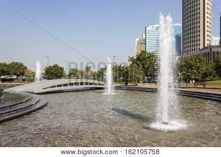 Fountain at the corniche park in the city of Abu Dhabi United Arab Emirates