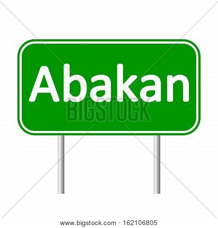 Abakan road sign isolated on white background.