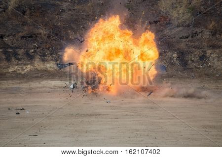 fire and movement of car part blown away from explosion in post blast investigation course training poster