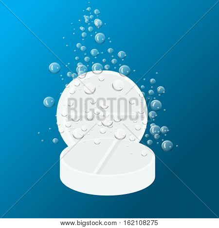 Tablet Dissolving in water isolated on white. Tablet with water drops. Vector illustration. Medicine packaging design template.