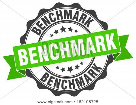 benchmark. stamp. sign. seal. round. retro. ribbon