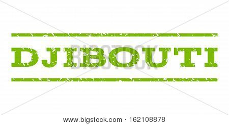 Djibouti watermark stamp. Text tag between horizontal parallel lines with grunge design style. Rubber seal stamp with scratched texture. Vector eco green color ink imprint on a white background.