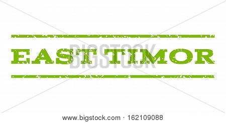 East Timor watermark stamp. Text caption between horizontal parallel lines with grunge design style. Rubber seal stamp with dust texture. Vector eco green color ink imprint on a white background.