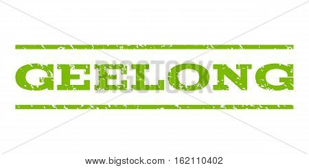 Geelong watermark stamp. Text caption between horizontal parallel lines with grunge design style. Rubber seal stamp with scratched texture. Vector eco green color ink imprint on a white background.